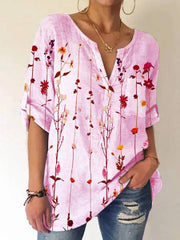 V Neck Floral Casual Cotton-Blend Blouse
