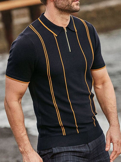 Men's striped zip polo shirt