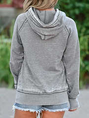 Gray Geometric Long Sleeve Hoodie Shift Sweatshirt
