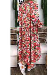 Red Casual Floral Cotton Dresses