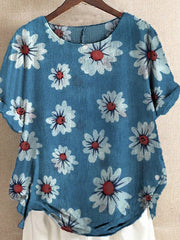 Blue Short Sleeve Shift Round Neck Printed Shirts & Tops