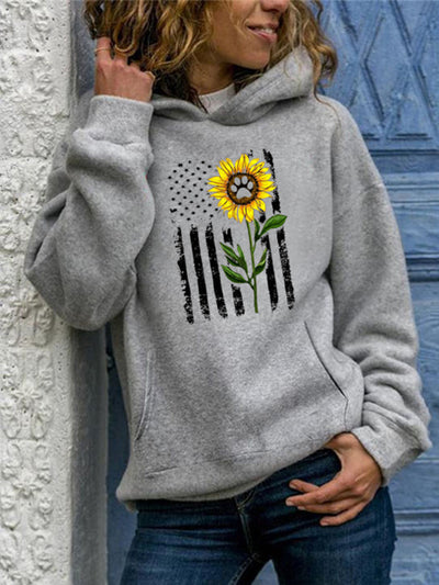 Vintage Hoodie Long Sleeve Sunflower Printed Plus Size Statement Casual Sweatshirt