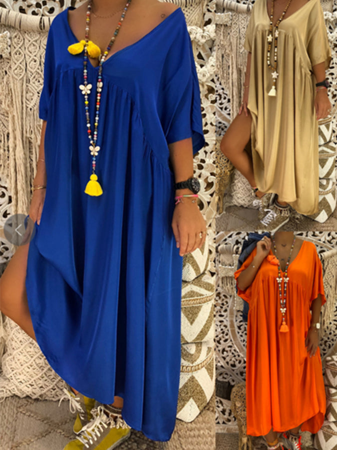 V Neck Solid Cotton Casual Dresses