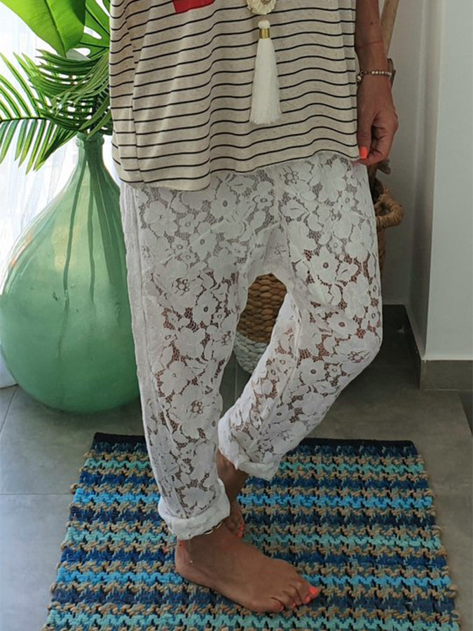 White Casual Shift Cotton Floral Pants