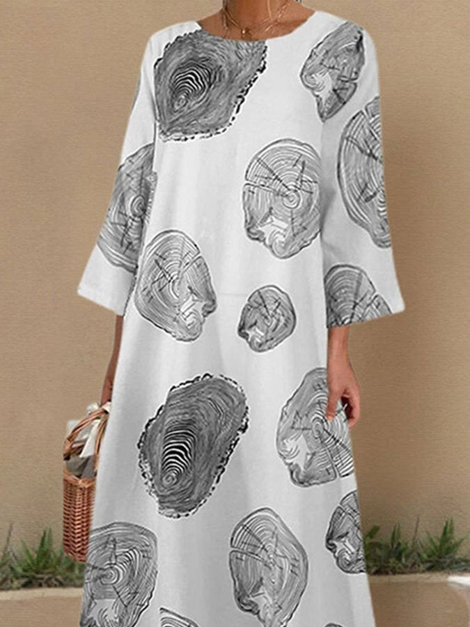 Vintage Crew Neck Long Sleeve Paisley Dresses