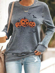 Gray Casual Shift Long Sleeve Printed Shirts & Tops