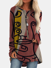 Abstract Print Casual Long-Sleeved Top