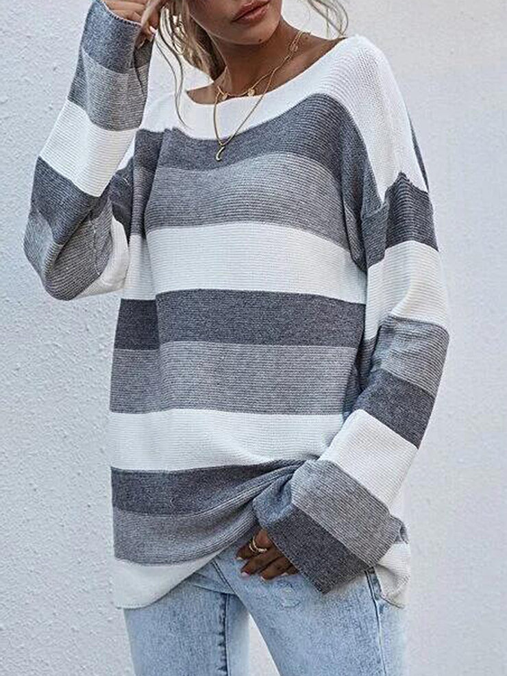 Gray Long Sleeve Shift Sweater