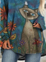 Blue Animal Cartoon Printed Long Sleeve Casual Crew Neck Vintage Casual Shift Shirts & Tops