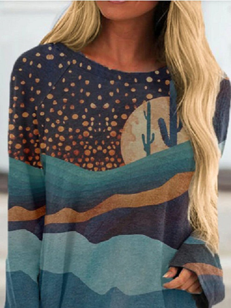 Printed Crew Neck Long Sleeve Casual Shift Shirts & Tops