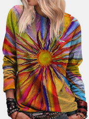 Large size Long Sleeve Cotton-Blend Printed  Tops