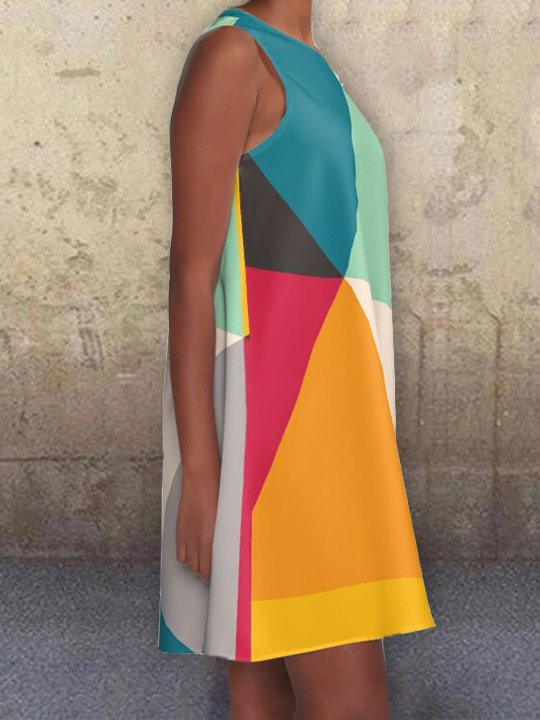 As Picture Color-block Geometric Pockets A-Line Printed Casual Dresses