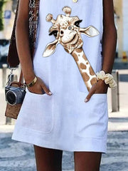 White Linen Crew Neck Sleeveless Dresses