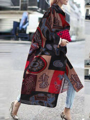 Abstract Long Sleeve Turn-Down Collar Vintage Outerwear