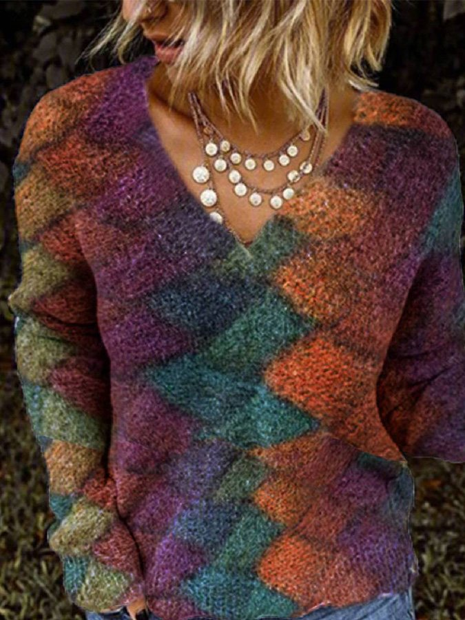 Multicolor Casual V Neck Ombre/tie-Dye Shirts & Tops