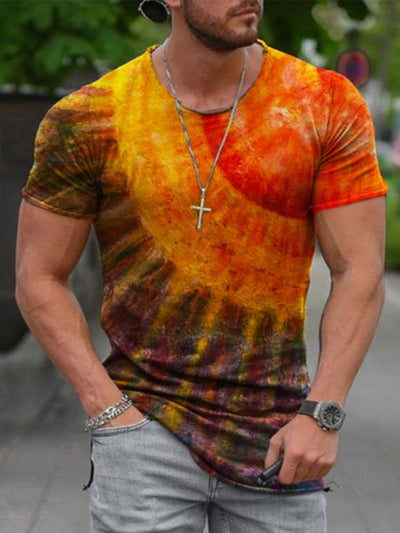 As Picture Cotton Crew Neck Abstract Casual Shirts & Tops