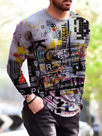 Men's Abstract Vintage Painting Print Long Sleeve T-shirt