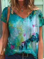 Colorful Flower Painting V Neck Casual Shift Shirts & Tops