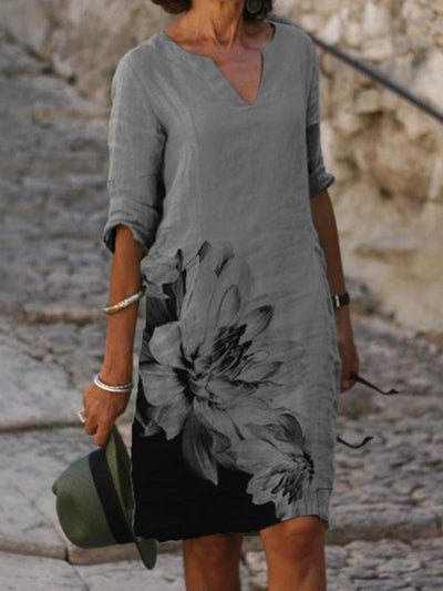 Gray Floral Half Sleeve Casual Dresses