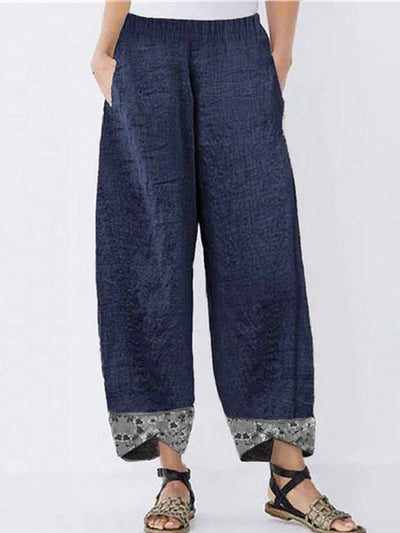 Casual Linen Floral Pants