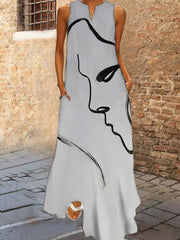 Light Gray A-Line Abstract Sleeveless Dresses
