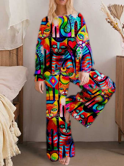 Printed Animal Long Sleeve Two Piece Suits