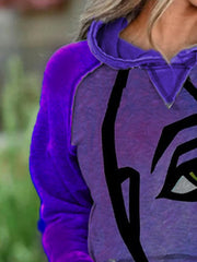 Purple Printed Casual Long Sleeve Sweatshirt