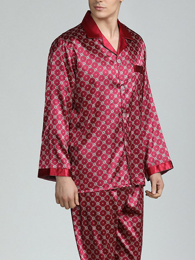 Men's printed silk pajamas set