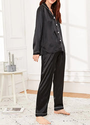 Black Satin Long Sleeve Sleepwear & Loungewear