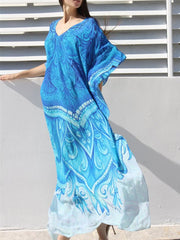 As Picture Tribal Batwing Cotton Long Beach Dress