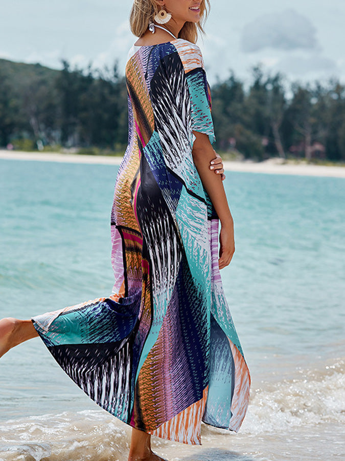 Colorful floral print loose beach skirt