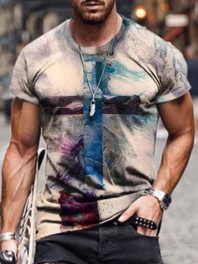 Men's Faith Cross Painting Print T-shirt