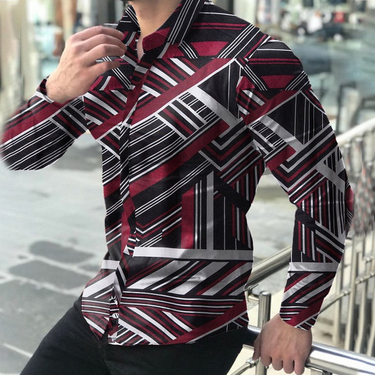 Men's long sleeve slim printed shirt