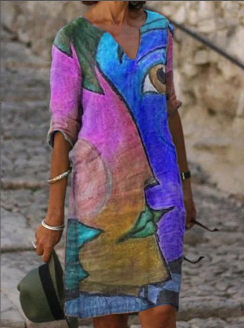 Ladies Bohemian Printed V-Neck Loose Dress