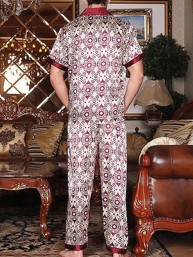 Premium Short-sleeved Silk Pajamas