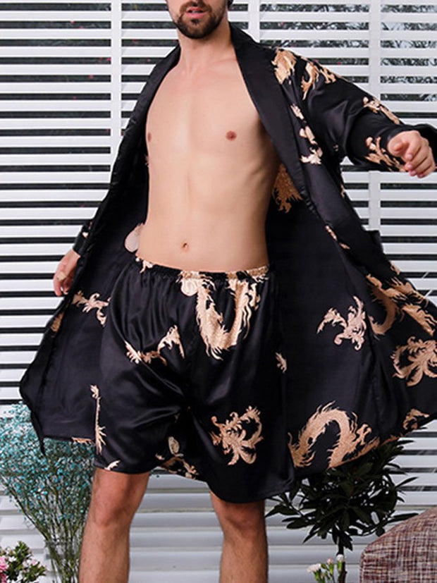 Men's silk nightgown shorts two-piece suit