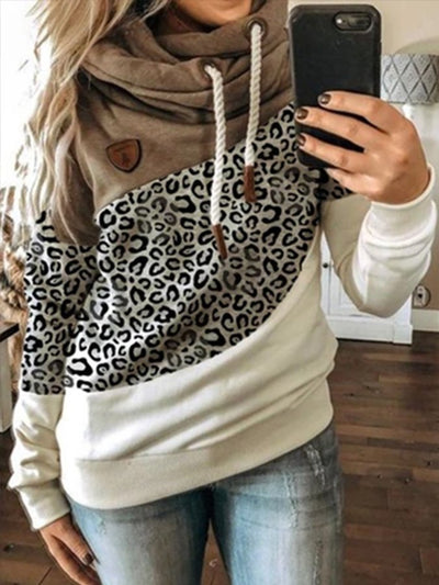 Green Leopard Print Printed Hoodie Long Sleeve Sweatshirt