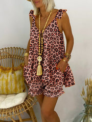 As Picture Leopard Print V Neck Cotton Casual Suits
