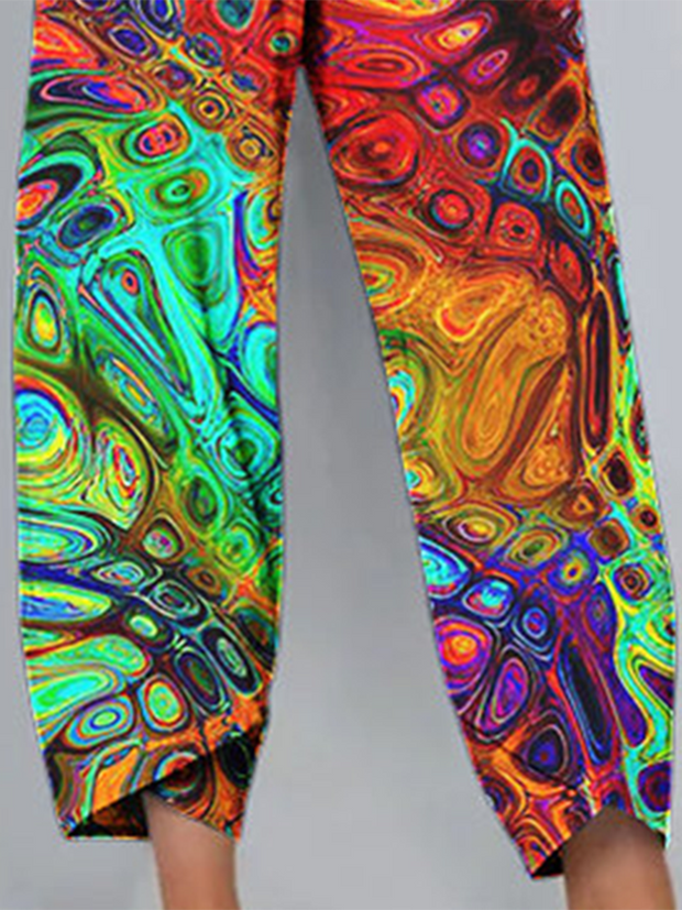 Multicolor Tribal Casual Pants