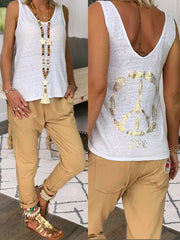 White Sleeveless Printed Solid Cotton Shirts & Tops