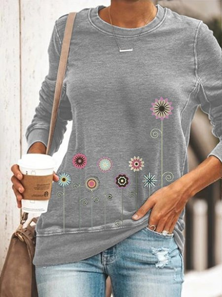 Casual Shift Long Sleeve Crew Neck Shirts & Tops