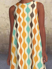 Yellow Geometric Pockets Sleeveless Crew Neck Printed Dresses
