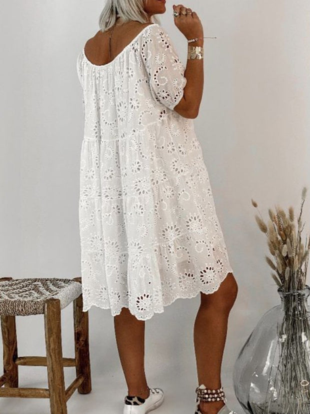 White Cotton-Blend Short Sleeve Casual Floral Dresses