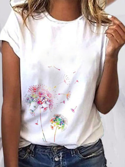 White Short Sleeve Round Neck Shirts & Tops