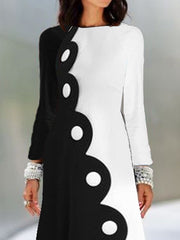 Color-block Evening Long Sleeve Printed Dress