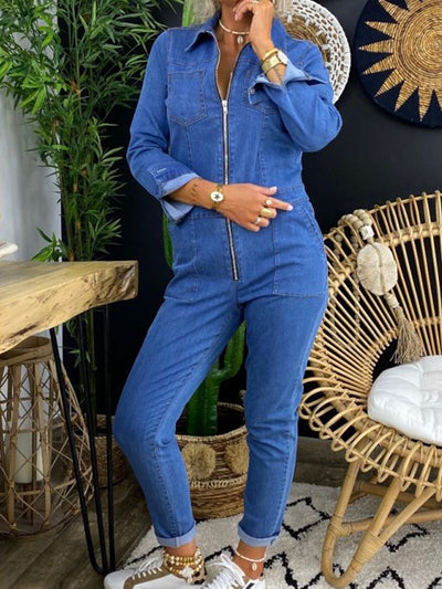 Blue Shirt Collar Casual Long Sleeve Jumpsuits