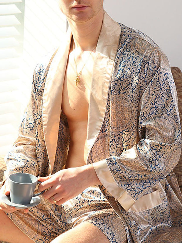 Men's summer thin silk long-sleeved one-piece nightgown
