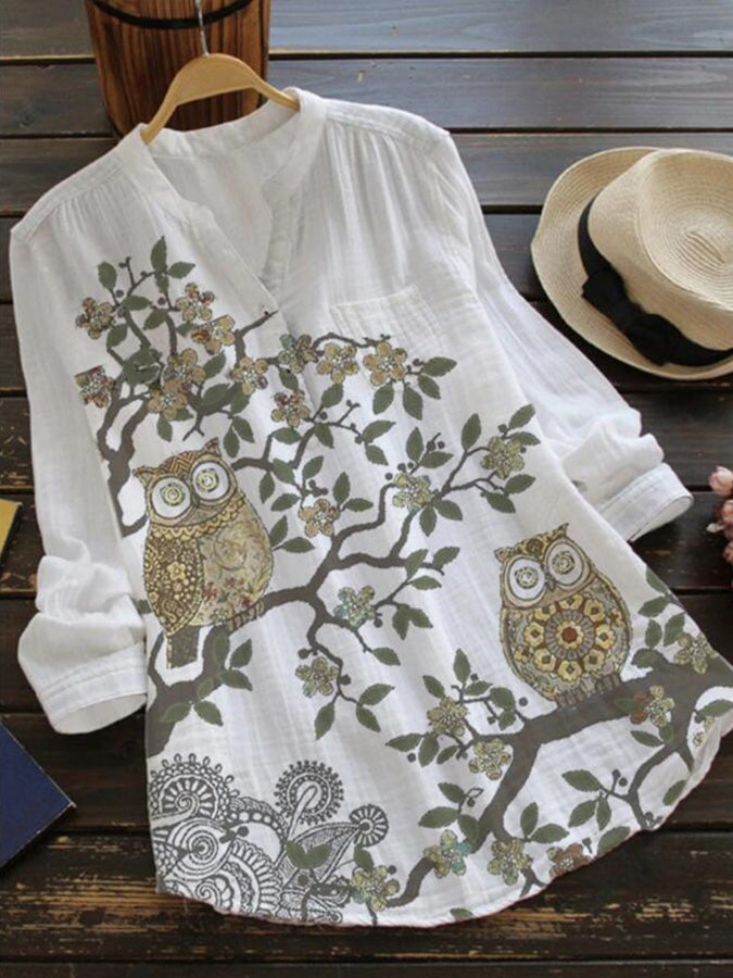White Animal Floral-Print Long Sleeve Casual Shirts & Tops