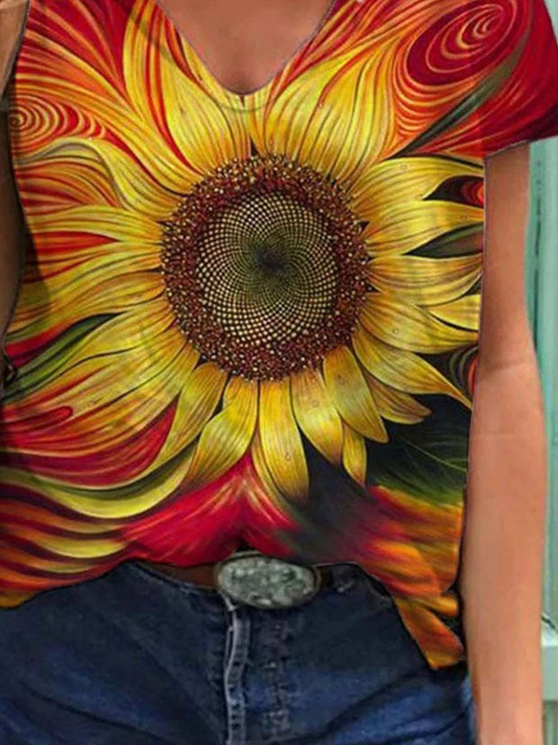Vintage V-Neck Sunflower 3D Painting Print T-shirt