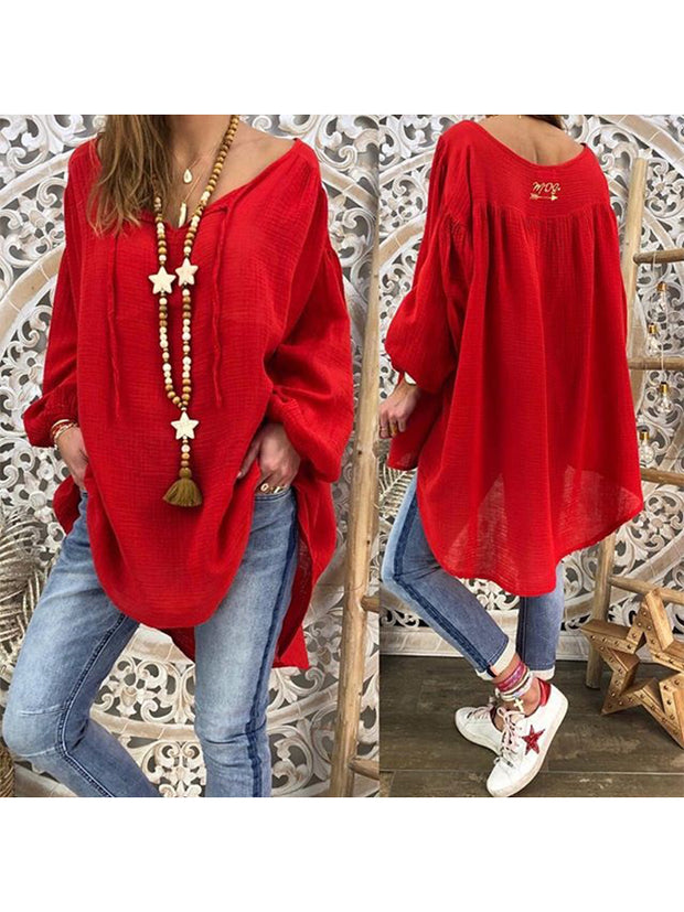 Red Simple Long Sleeve Shirts & Tops